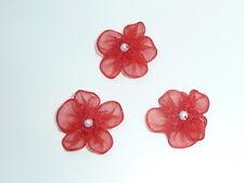 10 bellissimi fiori di organza con perlina PERLA-Rosso