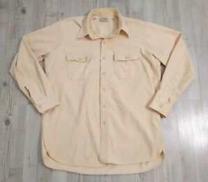 Vintage LL Bean Chamois Cloth Shirt  Mens Size 16 1/2 Large Beige Made In USA