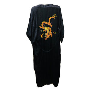Vintage 1990s Embroidered Dragons Koi Fish Chinese Black Silk Robe Silky Soft XL