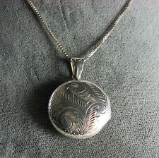 """925 Sterling Silver Engraved Locket on 925 Chain  Chain: 20"""" long Locket: 1 1/8"""""""