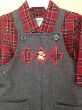New The Children's Place Gray Flannel Wool Overall PLaid Outfit Holiday 3-6M 3M