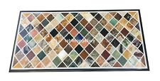 "24""x48"" Marble Dining Table Top Multi Stone Mosaic Inlay Restaurant Decors B128A"