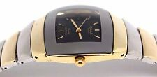 Omax Water Proof Men Watch Gold n Silver Tone with Black Dial Slim Square