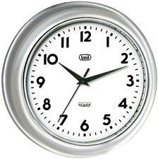 Trevi Oversized Retro Wall Clock Quartz Silent Sweep Movement No Ticking Silver