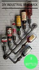 8 Bottle Industrial Wine Rack Wall Mount Holder Loft Kitchen Pipe Decor Black