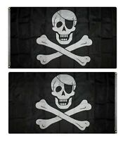 3x5 Embroidered Sewn Jolly Roger Pirate Patch Nylon Flag banner Double Sided