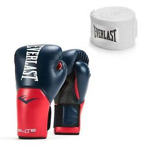 Everlast Navy/Red Elite Pro Style Boxing Gloves 16 Ounce & 120-Inch Hand Wraps