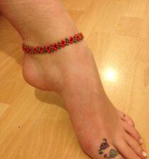 flower anklet ankle bracelet czech glass seedbead boho/hippie/festival Poppy