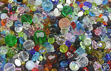 1 LB pound lot ASSORTED faceted glass beads great MIX