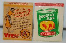 Raggedy Ann Peaches Elberta Vita Herring Food Canape Vintage Matchbook
