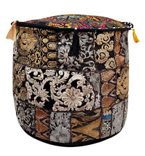Indian Handmade Ottoman Pouf Cover Black Embroidered Patchwork Cotton Footstool