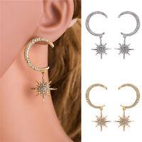 Crystal Star Moon Earrings Rhinestone Long Pendant Drop Dangle Earrings Jewelry#