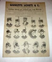 Catalogo Levati Articoli per uniformi corpi Musicali Berretti e cappelli - 1914