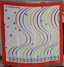 Foulard carré en crêpe de soie LEEHAUS Jeux olympique Séoul 1988 76 x 76 cm neuf