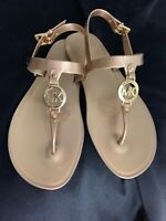 MICHAEL KORS Women's Gold Flat Jelly Sandals MK Gold Logo Size 8 New