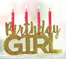 """Mud Pie """"Birthday Girl"""" Gold Glitter Cake Candle Topper"""