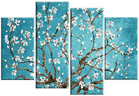 LARGE BLOSSOM TREE FLORAL CANVAS ART PICTURE BLUE TEAL WHITE MULTI 4 PANEL 100cm