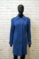BENETTON Giacca Donna Casual Taglia L Cappotto Lana Blu Jacket Woman Giubbino