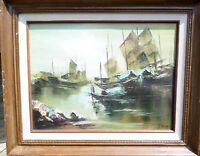Signed  S. Kwan Vintage Oil Painting Seascape Chinese Junk Boats Framed 16 X 12