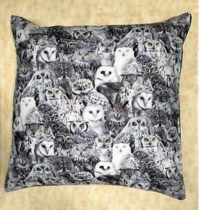 "Owl Cushion Cover Decorative Trendy Case fits 18"" x 18"" Hedwig Barn Tawny Snowy"