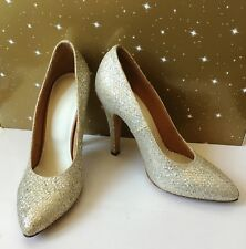 Maison Martin Margiela Gold Glitter Finish Leather Heels Pumps Size 37 UK 4