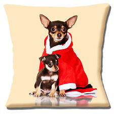 "CUTE TAN BLACK CHIHUAHUA ADULT & PUPPY SANTA CHRISTMAS 16"" Pillow Cushion Cover"
