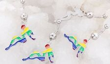 1 HOT GIRL FEMALE LESBIAN PRIDE GAY FLAG RAINBOW GEM 14G 7/16 NAVEL BELLY RING