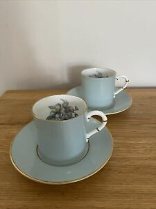2 Royal Worcester 'Woodland' Demitasse Coffee Cups & Saucers - Floral Blue China