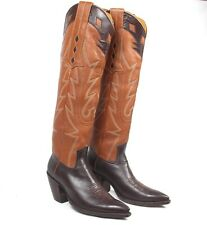 """Champion Attitude Brown Cowboy Boots Mn's 8.5D Tall Heels Pointy X-Toes 19"""" Tall"""