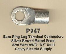 5 Bare Ring Lug Brazed Barrel Seam Terminal Connector 20 Wire Gauge 12 Stud