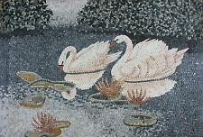 Romantic Lake Scene Two Marvelous White Swans Marble Mosaic An927