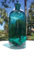 TUMBLED - 1870'S HUGE ANTIQUE TEAL HEAVILY WHITTLED APOTHECARY BOTTLE!  SUPER!!!
