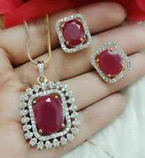 American Diamond Fashion Women Necklace Pendant Earring Gold Plated Gift Jewelry
