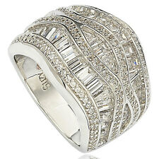 Suzy Levian Pave Cubic Zirconia Sterling Silver Crisscross Cocktail-Cluster Ring