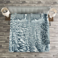 Winter Quilted Bedspread & Pillow Shams Set, Ski Theme Snowy Road Print