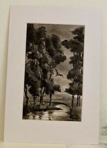 Vintage Atmospheric Pen And Ink Drawing Forest With A Bat Spooky