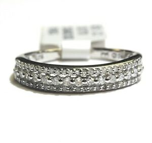 New 925 Sterling Silver .38ct SI2 H diamond 3 row wedding band ring 2.1g estate