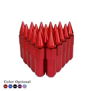 20pcs Red Aluminum Extended Spiked Lug Nuts Tuner M12x1.25 Cone Seat for Nissan