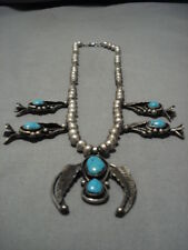 VINTAGE NAVAJO CARICO LAKE TURQUOISE STERLING SILVER SQUASH BLOSSOM NECKLACE OLD
