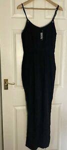 BNWT Black NEW LOOK Eyelet Cami Strap All In One Jumpsuit SIZE 8 UK NEW