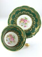 Vintage EB Foley Bone China England Forest Green Teacup and Saucer R180