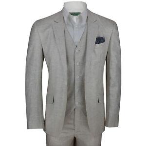 New Mens Cream 3 Piece Cotton Linen Blend Tailored Fit Vintage Suit Smart Casual