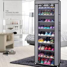 10 Layer 27 Pairs Shoes Cabinet Storage Organizer Shoe Rack Dustproof Standing