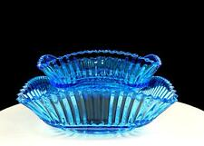 "EAPG BLUE RIBBED STAR & FAN 2 PIECE 7 3/4"" SQUARE NESTING BOWLS 1900-1918"
