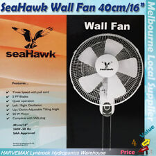 "Hydroponics Seahawk Wall Mount Fan 40cm 16"" Quiet Oscillating Adjustable Angle"