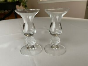 Two Crystal Candlesticks Candle Holders Shell Pedestal Base 5 1/8""