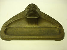 """Antique Bronze Colored Metal Inkwell & Pen Holder A1 good condition 9"""" x 5"""" LOOK"""