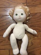 """1985 Mattel """"MY CHILD"""" Green Eyes Blonde Baby 13"""" Doll Nude Smoke Free"""