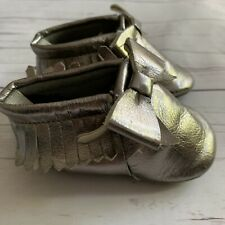 Baby Girls 6-12 Months Slippers GAP Silver Faux Leather Tassel Mocassins Shoes