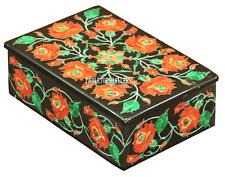 "6""x4""x2"" Belgium Black Marble Jewelry Box Mosaic Carnelian Inaly Art Gifts H2233"